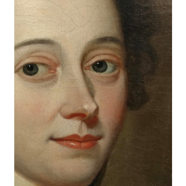 Mid 18th Century 18th Century Portrait of an English Aristocratic Woman -Oil Painting For Sale - Image 5 of 10