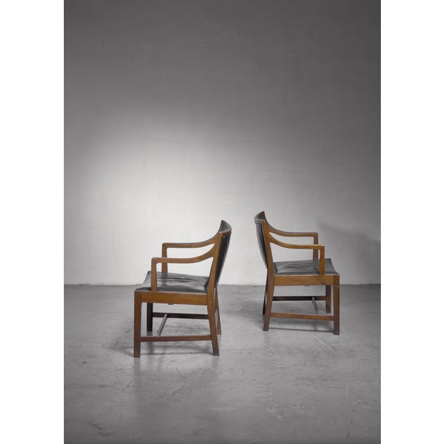 Kai Fisker Pair of Kay Fisker Attributed Armchairs in Dark Green Leather For Sale - Image 4 of 5