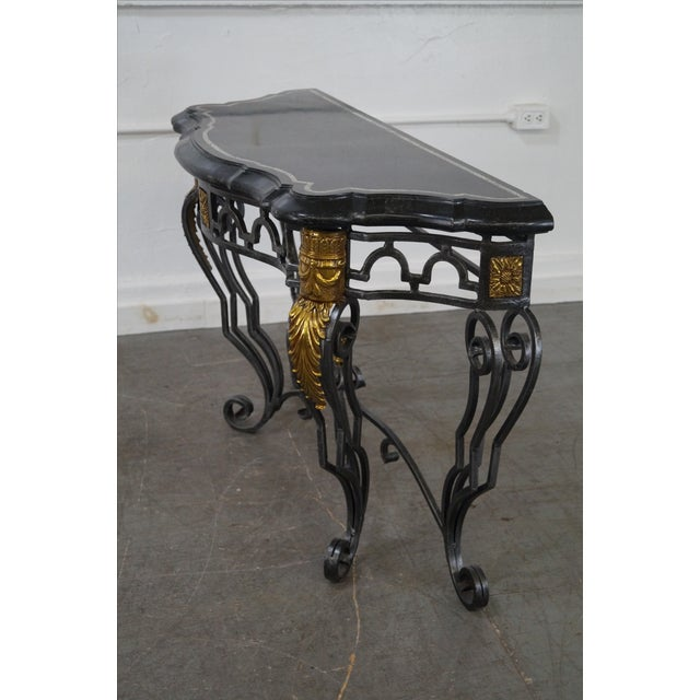 Maitland Smith Marble Top Regency Console Table - Image 7 of 10