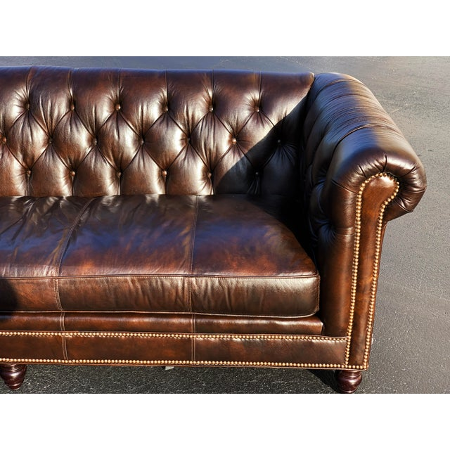 2010s Tommy Bahama Manchester Leather Sofa For Sale - Image 5 of 13