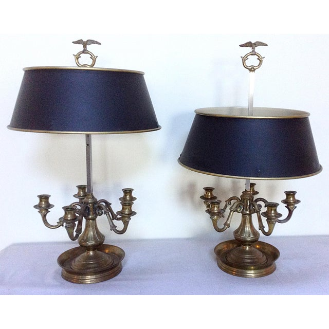 English Traditional Adjustable Brass Boulliote Lamps - A Pair For Sale - Image 3 of 3