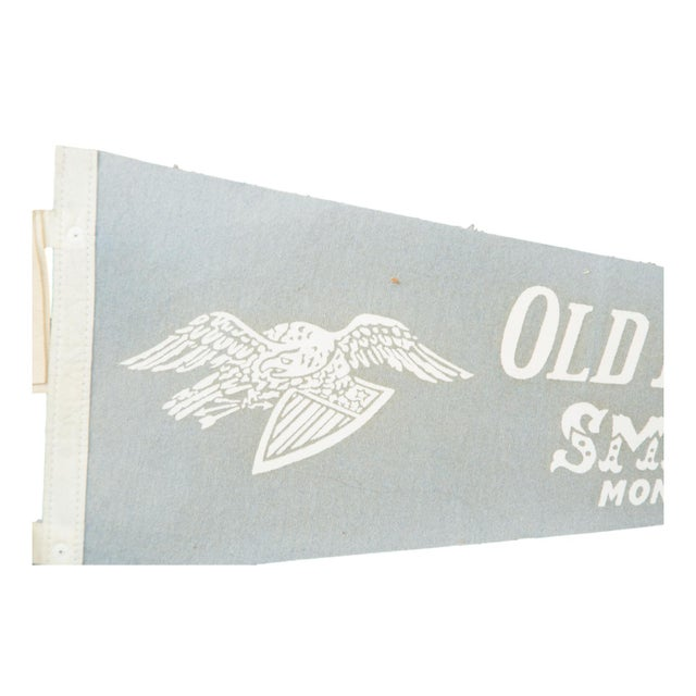 Charming and rare felt flag pennant commemorating the Old Museum Village of Smith's Glove in Monroe, NY. Circa the 1950s....