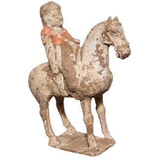 8th Century Tang Dynasty Chinese Terracotta Horse and Rider with Original Paint For Sale