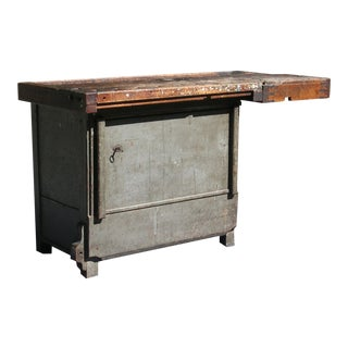 Antique Industrial Workbench Carpenters Table For Sale