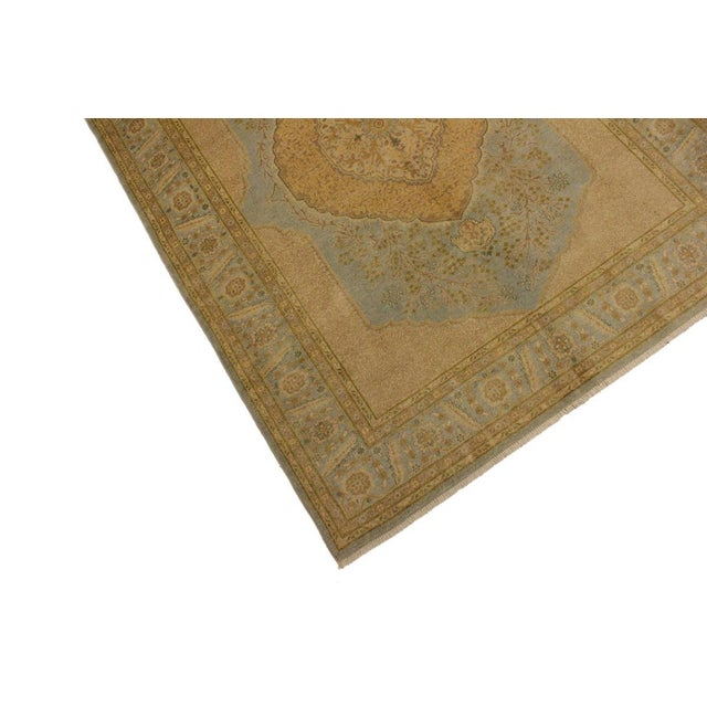Contemporary Semi Antique Istanbul George Lt. Blue/Gold Turkish Hand-Knotted Rug -5'8 X 7'4 For Sale - Image 3 of 8