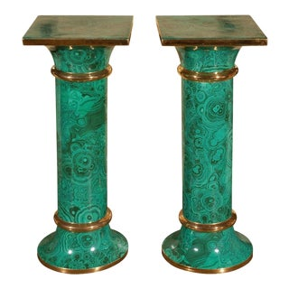 Faux Malachite Pedestal Tables - a Pair