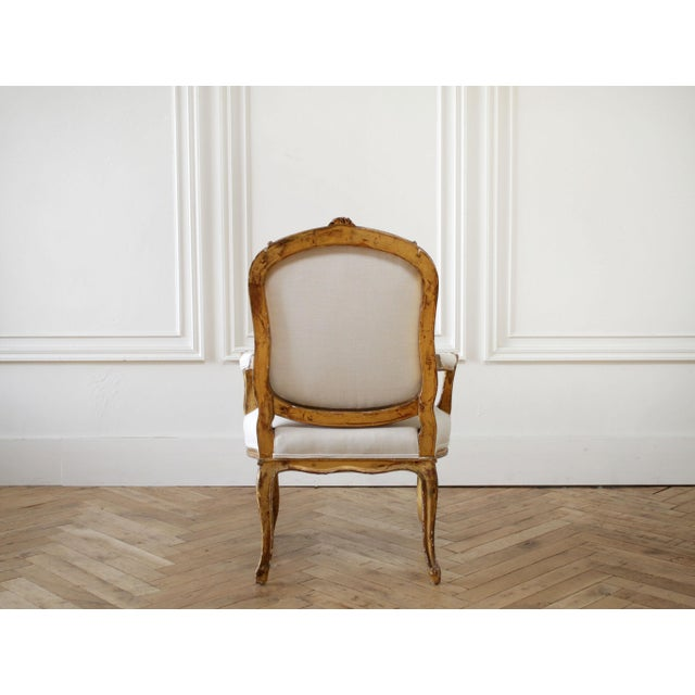 1900 - 1909 19th Century Carved Giltwood French Louis XV Style Open Arm Chairs For Sale - Image 5 of 13