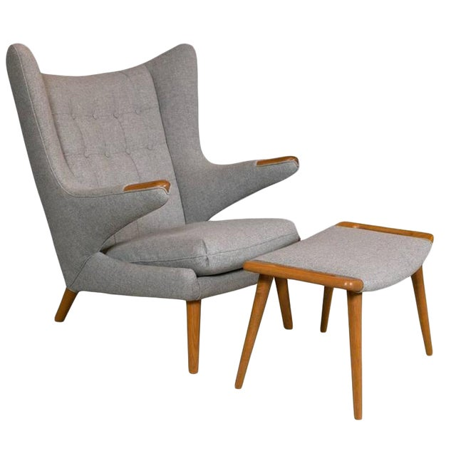 A Hans Wegner Papa Bear Chair With Stool Produced by a.p. Stolen For Sale