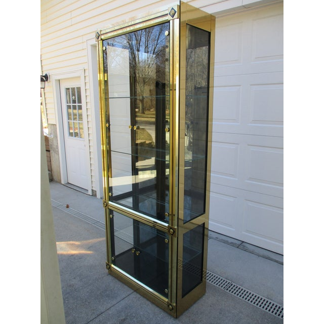 Mastercraft Brass and Black Lacquer Display Case or Vitrine For Sale - Image 6 of 12