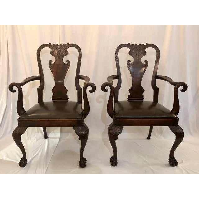 Pair Antique 19th Century English Mahogany Well-Carved Armchairs