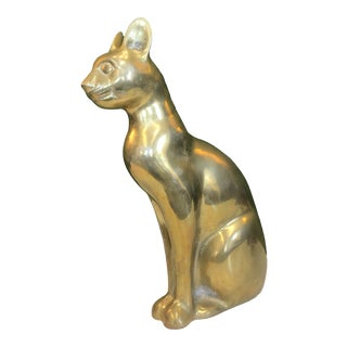 Large Brass Cat Figure For Sale