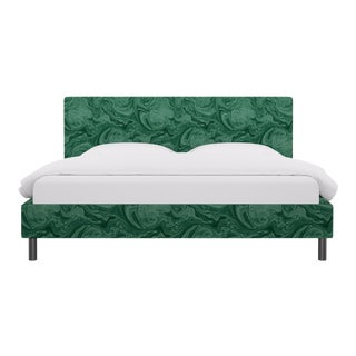 King Tailored Platform Bed in Malachite By Scalamandre For Sale