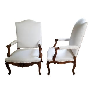 19th C. Walnut Louis XV Armchairs Pair For Sale
