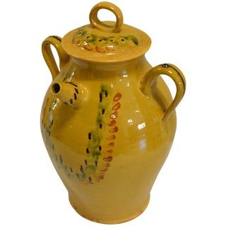Turn of the Century Large Covered Earthenware Water Jug For Sale