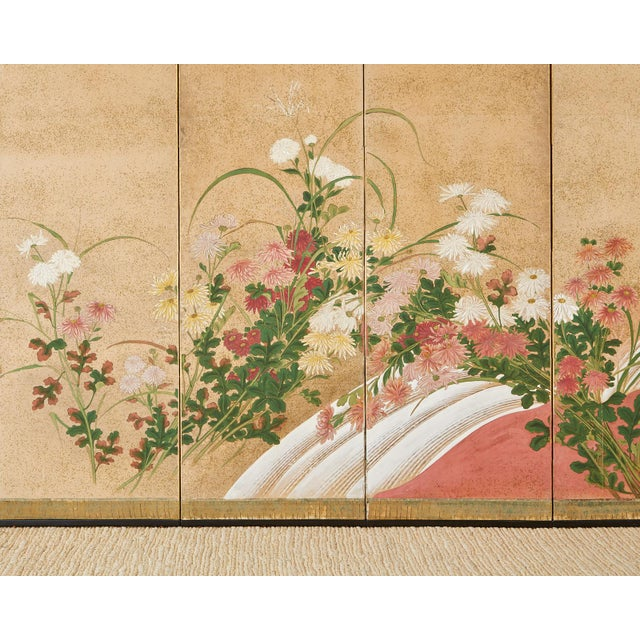 Japanese Six Panel Meiji Screen Chrysanthemums and Waterfall For Sale - Image 9 of 13