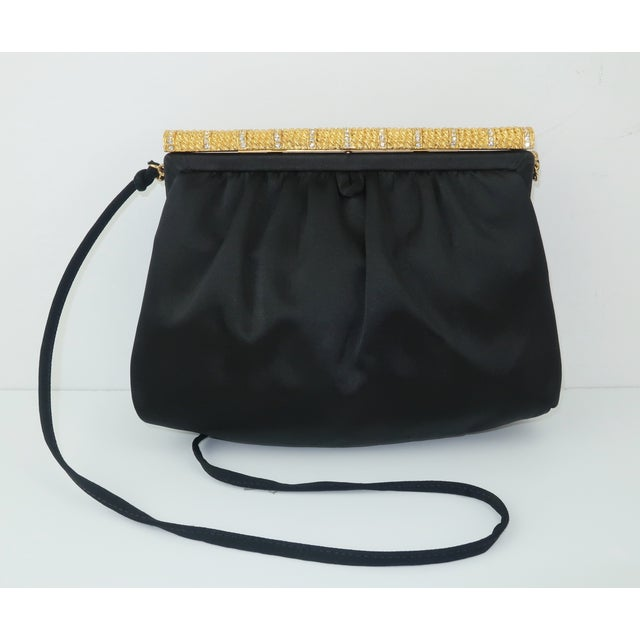 Art Deco C.1980 Givenchy Black Satin Evening Handbag With Rhinestone Closure For Sale - Image 3 of 13