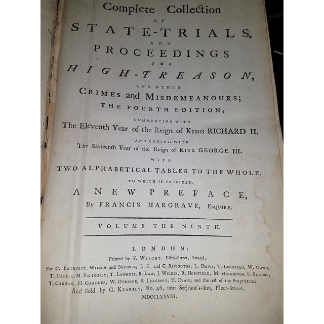 1781 State Trials for High Treason - 5 Volumes - Historic For Sale - Image 10 of 13