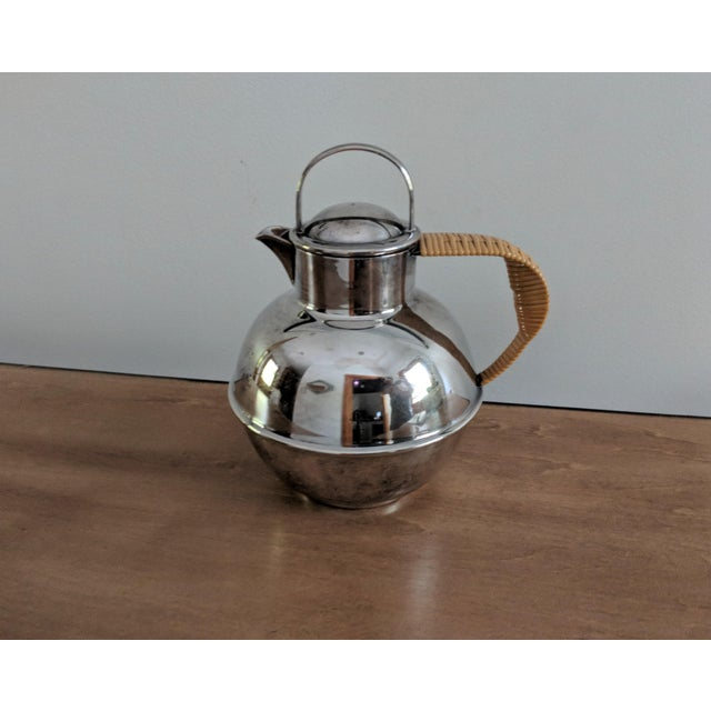 1940s Art Deco International Silver Co. Guernsey Milk Jug With Rattan Handle For Sale - Image 9 of 9