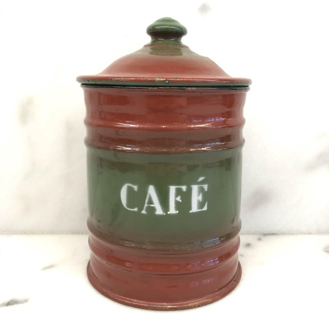Vintage French Enamel Kitchen Canister Set Red/Green - 6 Pieces For Sale In Portland, ME - Image 6 of 10