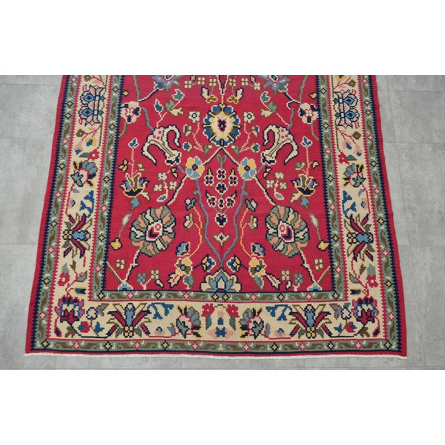 Cotton Vintage Hand Woven Wool Floral Kilim - 5′2″ × 7′6″ For Sale - Image 7 of 8