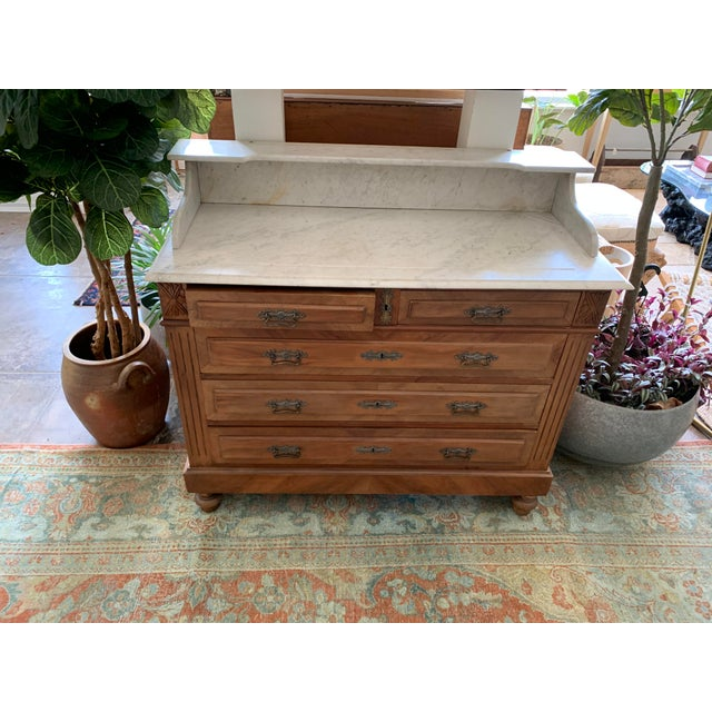 Early 21st Century 19th Century French Country Marble Top Dresser For Sale - Image 5 of 12