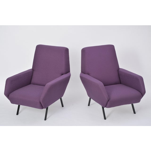 Pair of Reupholstered Italian Vintage Armchairs in Metal and Purple Fabric,1950s For Sale - Image 4 of 9