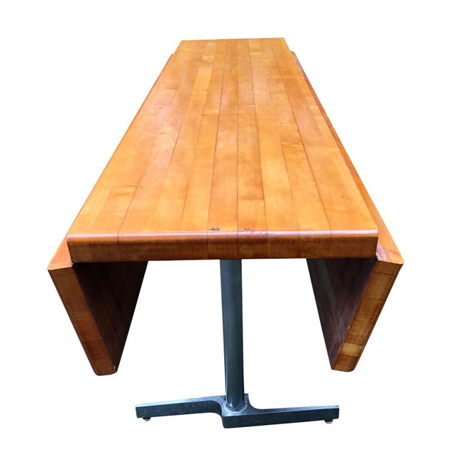 Vintage Butcher Block Dining Kitchen Table Drop Leaf
