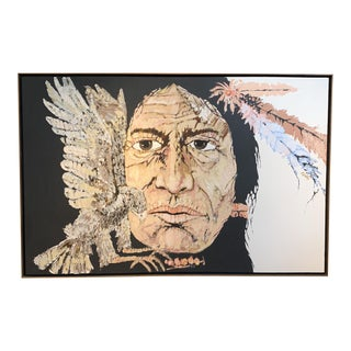 Monumental Modern Native American Oil Painting For Sale