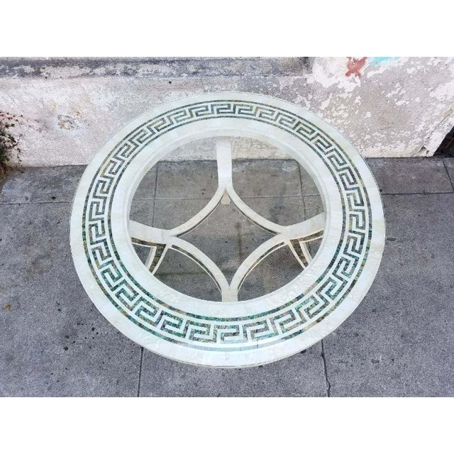 Vintage Regency Tessellated Marble Abalone Round Dining Table - Image 4 of 5