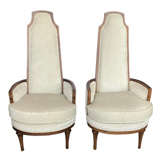 Kagan Style High Back Side Chairs- a Pair For Sale