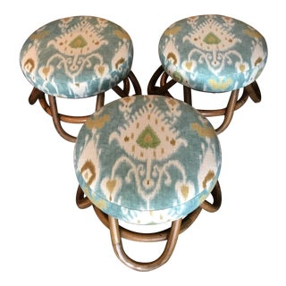 20th Century Boho Chic Patterned Seat Rattan Swivel Stools - Set of 3