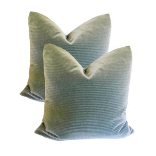 Dolphin Gray Ribbed Mohair Velvet Pillows - a Pair