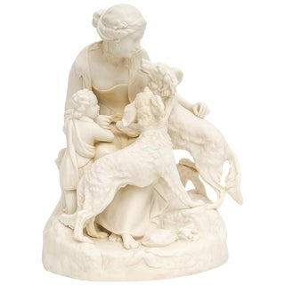English Bisque Parian Ware Sculpture Figures With Hunting Dogs For Sale