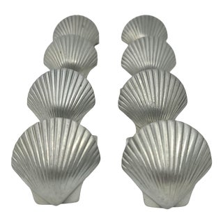 Vintage Scallop Shell 1985 Lovell Pewter by Kenneth Kantro Set of 7 For Sale