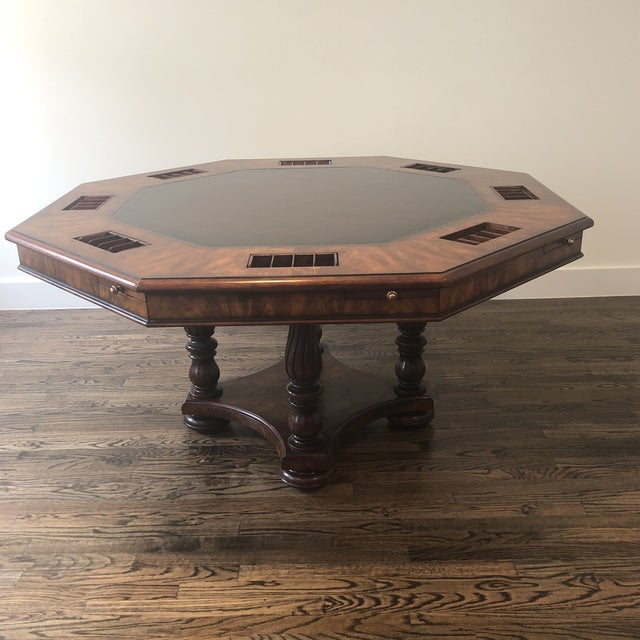 Beautiful Game Table and 4 Game Chairs. Also included is a Two Piece, Magnetic, Custom Made Table Cover. Felt on one side,...