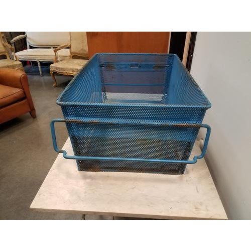 1960s French Industrial Blue Metal Basket For Sale - Image 4 of 8
