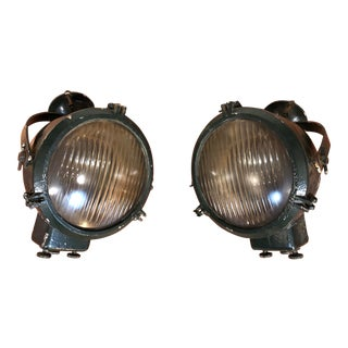 Vintage Ship's Lights - Large Spotlights - a Pair For Sale