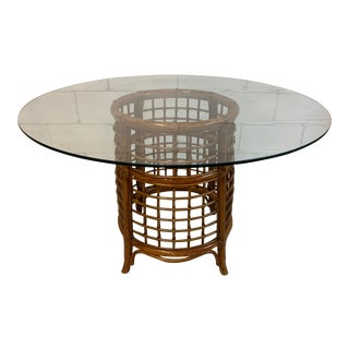 Rattan and Brass Dining Table For Sale