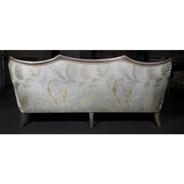 Fabric Vintage Mid Century Off-White French Style Settee Sofa For Sale - Image 7 of 8
