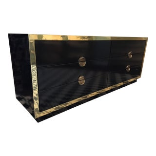Hollywood Regency Black Lacquer and Brass Asian Dresser