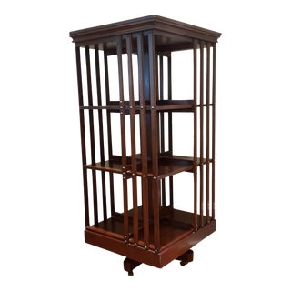 1980s American Classical Maitland Smith Revolving Bookcase For Sale