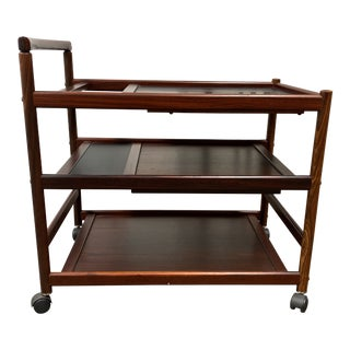 Dyrlund Johannes Andersen Mahogany Wood Bar Cart For Sale
