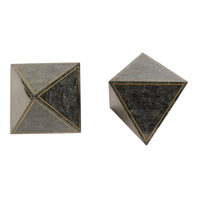 1980s Octahedron Tessellated Marble Side Tables For Sale