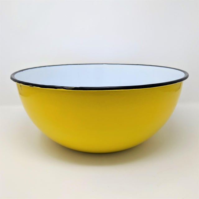 Yellow Vintage Otto Japanese Yellow Enameled Metal Bowl For Sale - Image 8 of 8