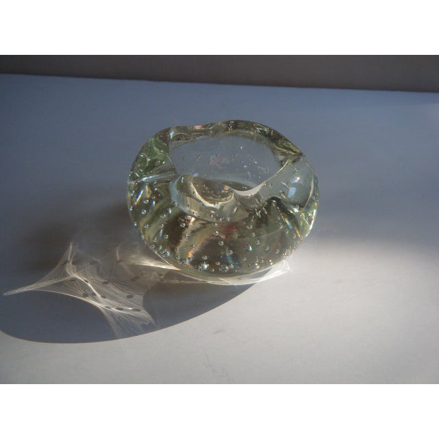 "Vintage Clear Glass ""Bubbles"" Modern Style Ashtray - Image 5 of 5"