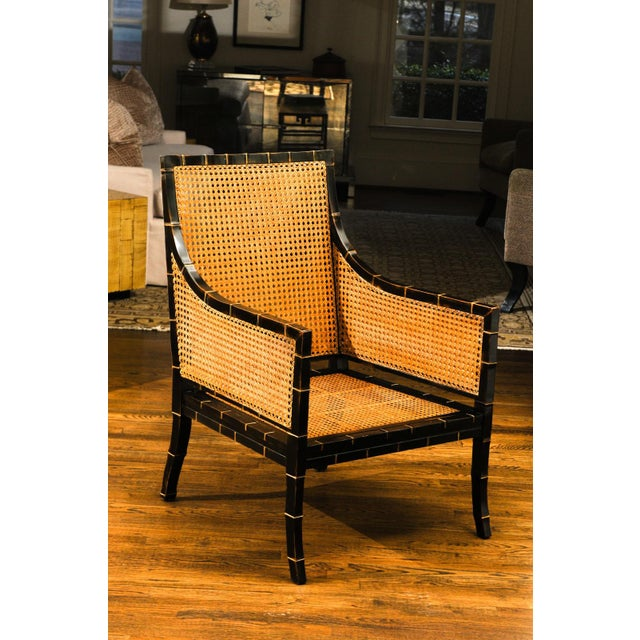 1970s Beautiful Restored Pair of Large-Scale Double-Sided Cane Club Chairs For Sale - Image 5 of 9