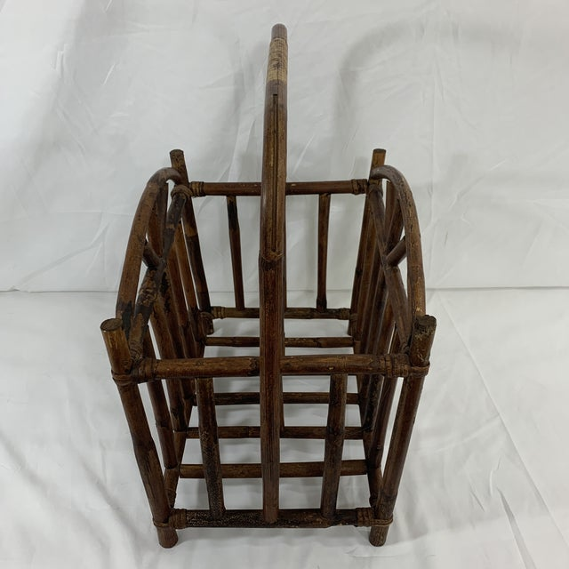 1900 - 1909 English Bamboo Magazine Rack Ca 1900-1920 For Sale - Image 5 of 9