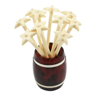 French Barware Cocktail Stirrers Set Tortoise Lucite Barrel For Sale