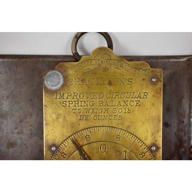 Chatillion Hanging 30 Lb. Brass Mercantile Scale with Steel Tray For Sale - Image 10 of 11