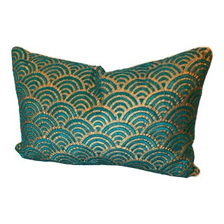 Silk and Embroidered Rectangular Reversable Pillow Cover For Sale